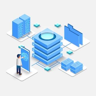 Calcolo del big data center, database di elaborazione delle informazioni.