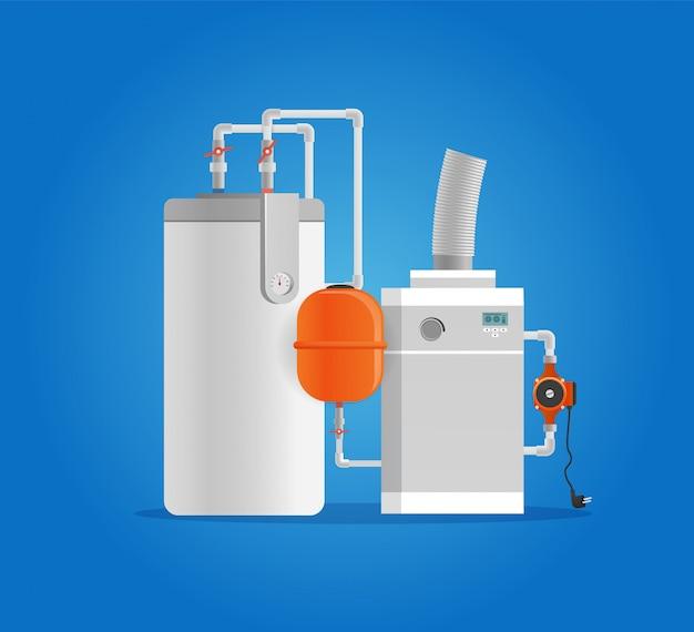 Caldaia elettrica del fumetto di vettore per acqua di riscaldamento