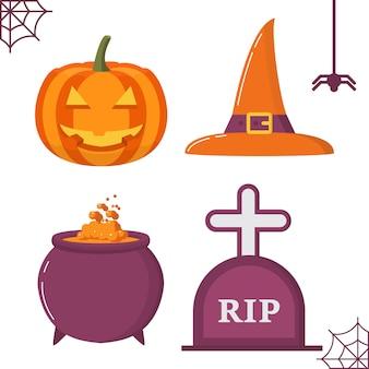 Calderone della strega per le vacanze di halloween con la furia di una pozione, una lampada di zucca che sorride una pietra tombale.