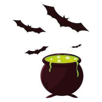 Calderone felice festa di halloween