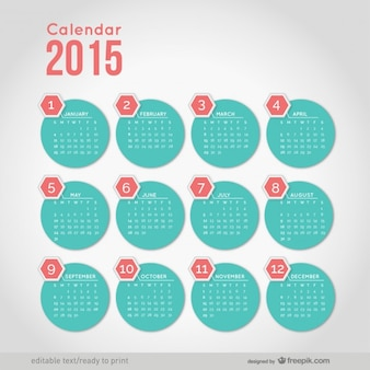 Calendario 2015 con forme rotonde minimaliste
