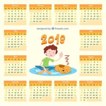 Calendario 2018 con bambino e cane