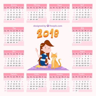 Calendario 2018 con ragazza e gattino