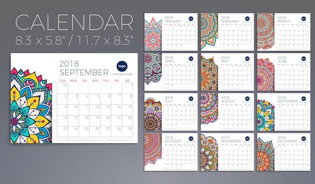 Calendario 2018. elementi decorativi vintage. modello orientale, illustrazione vettoriale.