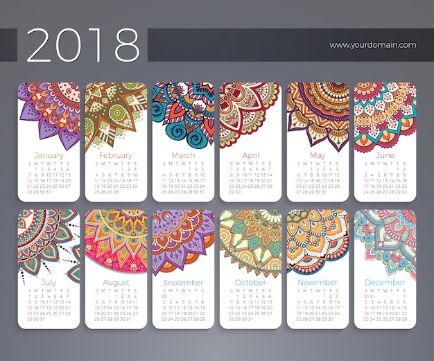 Calendario 2018. elementi decorativi vintage