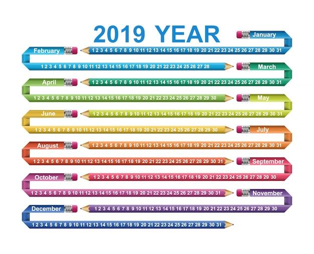 Calendario 2019 anni.