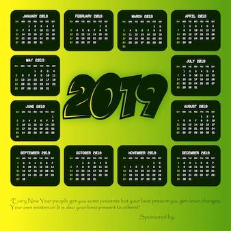 Calendario 2019 con il vettore di design creativo