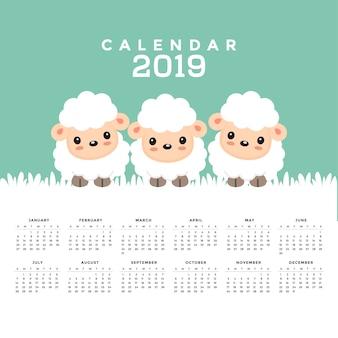Calendario 2019 con simpatico cartone animato di pecora. illustrazione vettoriale disegnato a mano