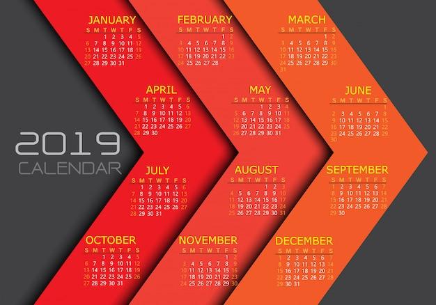 Calendario 2019 giallo bianco testo numero freccia rossa sfondo.