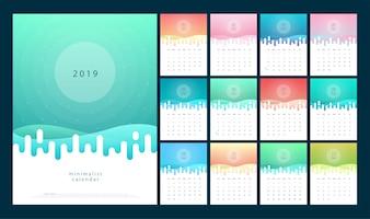 Calendario 2019 Gradienti alla moda con stile di colore pastello