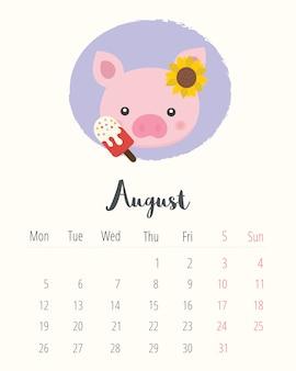 Calendario 2019. maiale carino. mese di agosto.