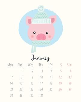 Calendario 2019. maiale carino. mese di gennaio
