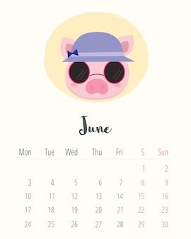 Calendario 2019. maiale carino. mese di giugno