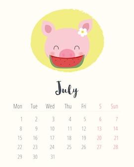 Calendario 2019. maiale carino. mese di luglio