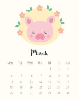 Calendario 2019. maiale carino. mese di marzo.