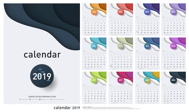 Calendario 2019 trendy gradienti stile origami