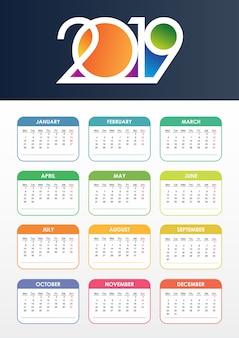 Calendario 2019 vettoriale