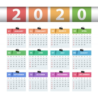 Calendario 2020 anno. modello di business