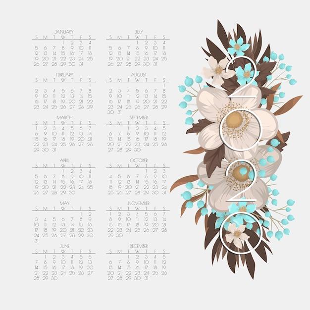 Calendario 2020. calendario floreale con fiori bianchi e azzurro