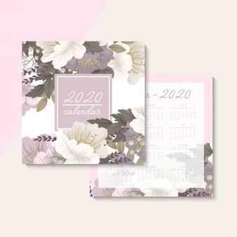 Calendario 2020. calendario floreale con fiori rosa. illustrazione vettoriale