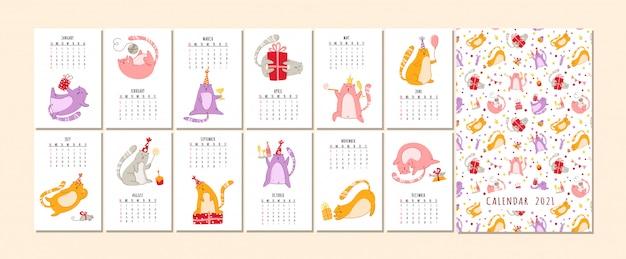 Calendario 2021 della festa di compleanno dei gatti - gattino divertente in cappello festivo, torta e bevande di compleanno, pianificatore di vettore grande pagine di 12 mesi e copertina
