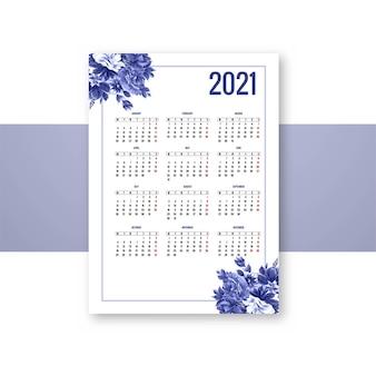 Calendario 2021 per il disegno del modello floreale blu decorativo