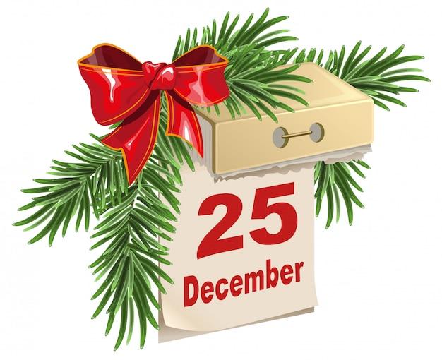 Calendario a strappo il 25 dicembre. vigilia di natale