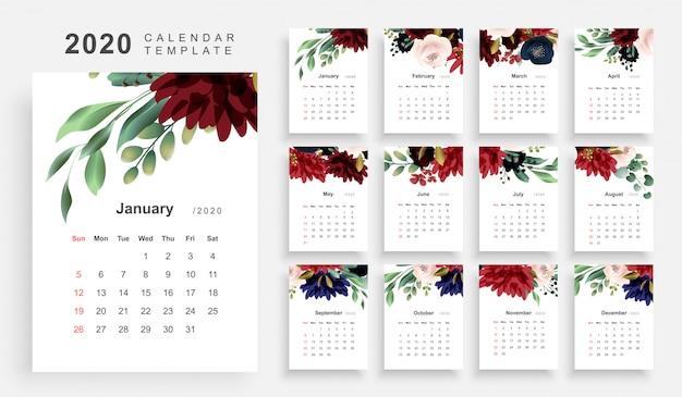 Calendario a tema floreale 2020