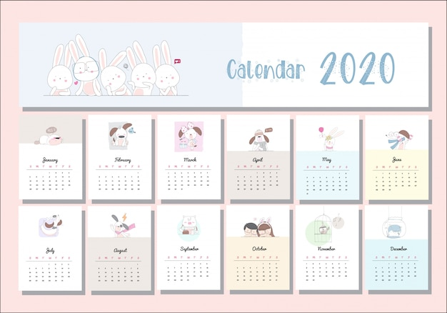 Calendario animale simpatico cartone animato impostato 2020