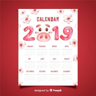 Calendario cinese del nuovo anno 2019 dell'acquerello
