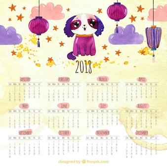 Calendario cinese del nuovo anno disegnato a mano