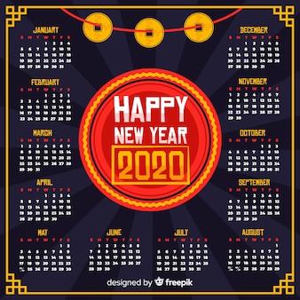 Calendario cinese di nuovo anno nella progettazione piana