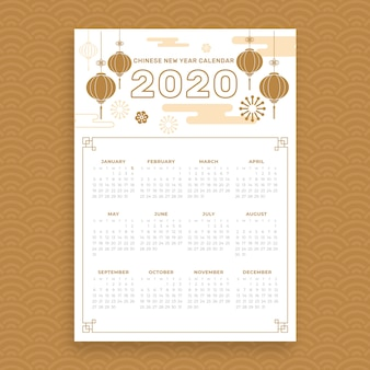 Calendario cinese disegnato a mano bello di nuovo anno