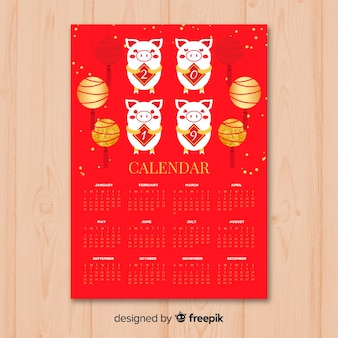 Calendario cinese nuovo anno 2019 rosso e dorato