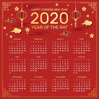Calendario cinese rosso e dorato di nuovo anno