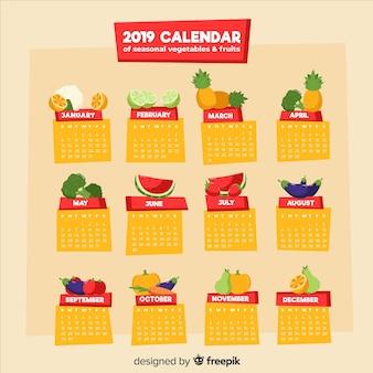 Calendario colorato di frutta e verdura di stagione
