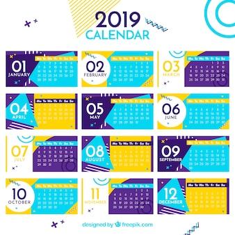 Calendario colorato piatto per l'anno 2019