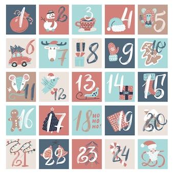 Calendario conto alla rovescia di dicembre, vigilia di natale cartoon invernale creativo impostato con i numeri.