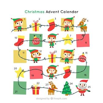Calendario d'avvento disegnato a mano con elfi
