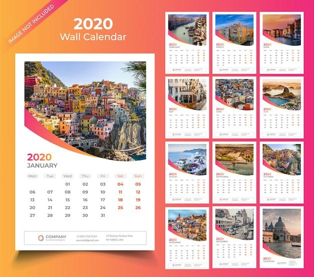 Calendario da muro per modello 2020
