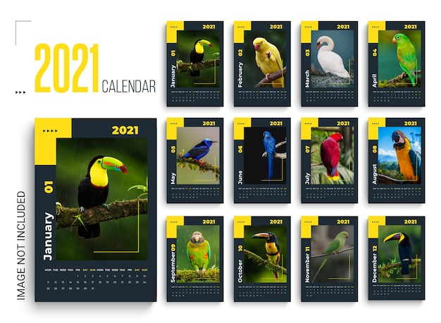 Calendario da parete 2021 con pappagalli