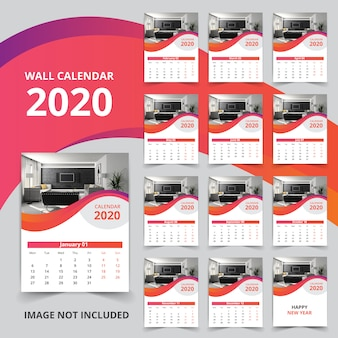Calendario da parete di 12 pagine 2020