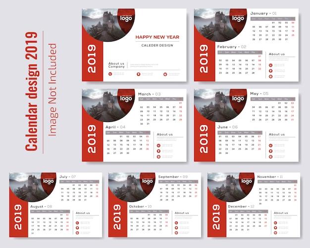 Calendario da tavolo rosso 2019