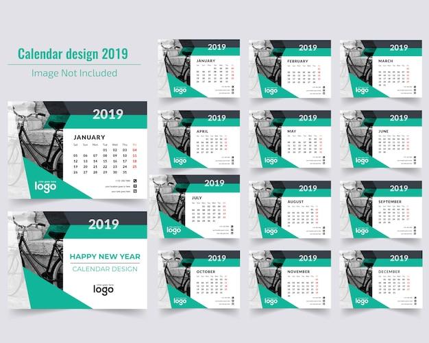 Calendario da tavolo verde 2019