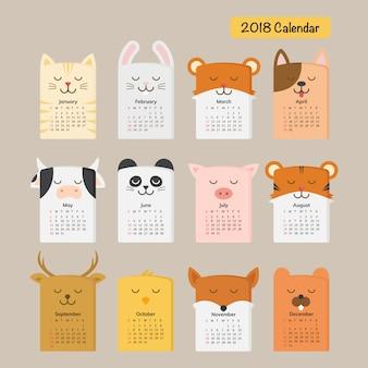 Calendario degli animali carino 2018