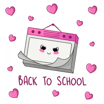 Calendario dei cartoni animati kawaii, torna al concetto di scuola