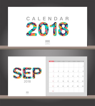 Calendario del mese di settembre 2018. modello di design moderno calendario da scrivania con stili di taglio della carta