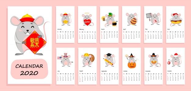Calendario dell'anno 2020 con topi divertenti
