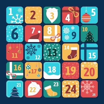 Calendario dell'avvento colorato in design piatto