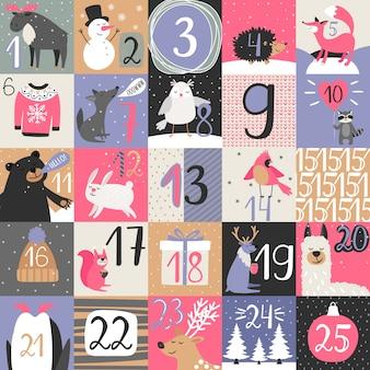 Calendario dell'avvento con animali d'inverno